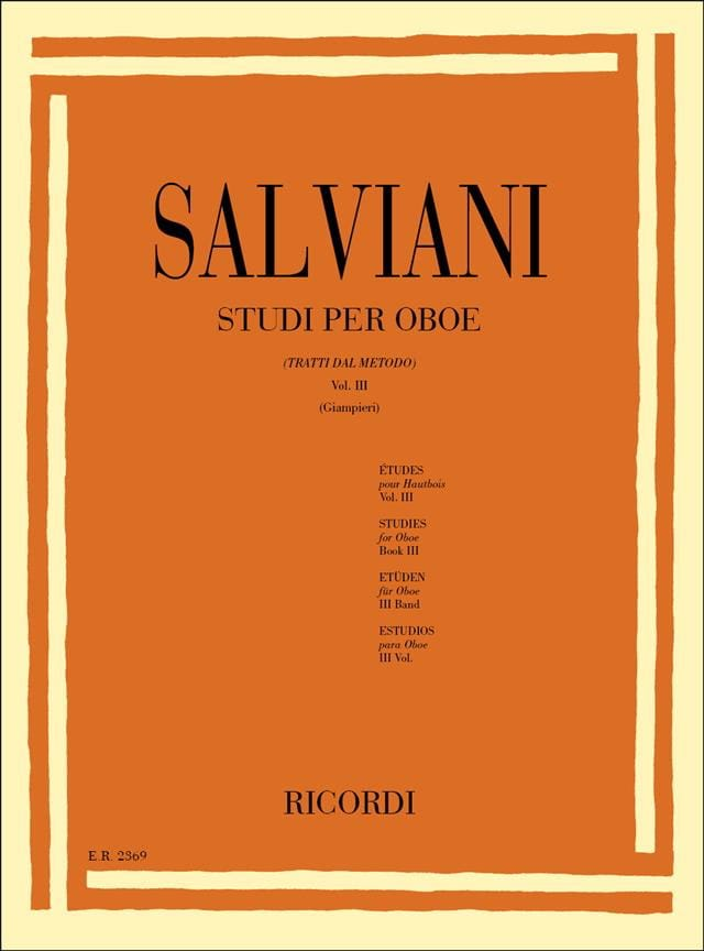 Clemente Salviani - Studi per oboe - Volume 3 - Partition - di-arezzo.co.uk