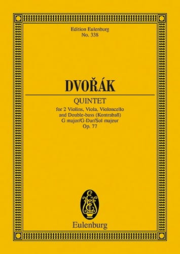 DVORAK - Quintett G-Dur, Op. 77 - Driver - Partition - di-arezzo.co.uk
