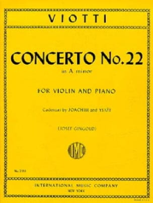 Giovanni Battista Viotti - Concerto No. 22 in A minor - Partition - di-arezzo.co.uk