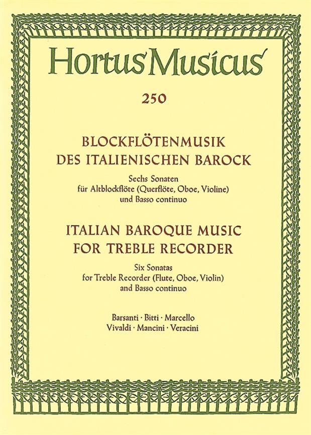 - Blockflötenmusik of the Italianischen Barock - Altblockflöte u. Bc - Partition - di-arezzo.co.uk