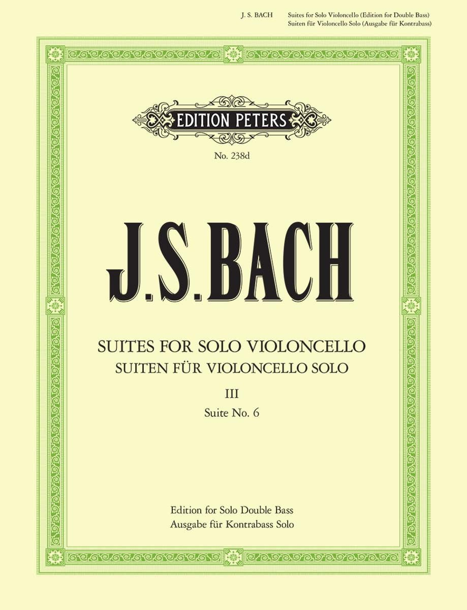 BACH - Suite N ° 6 for Cello Only transcribed for Double Bass - Partition - di-arezzo.co.uk