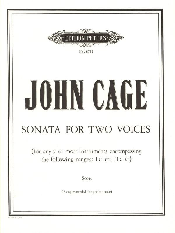 John Cage - Sonata for Two Voices - Partition - di-arezzo.com