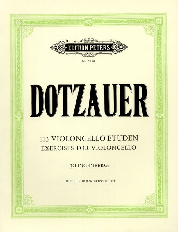Friedrich Dotzauer - 113 Studies for Cello - Booklet 3 63-85 - Partition - di-arezzo.co.uk