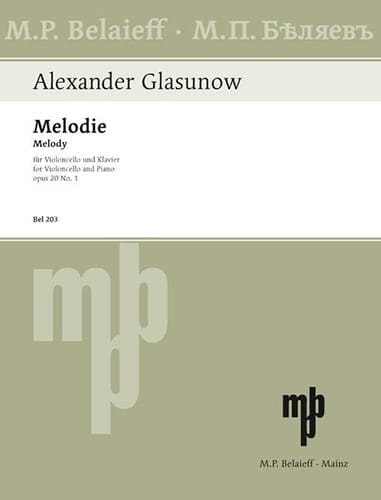 Alexandre Glazounov - Melody op. 20 n ° 1 - Partition - di-arezzo.co.uk