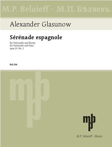 Alexandre Glazounov - Spanish serenade op. 20 n ° 2 - Partition - di-arezzo.co.uk
