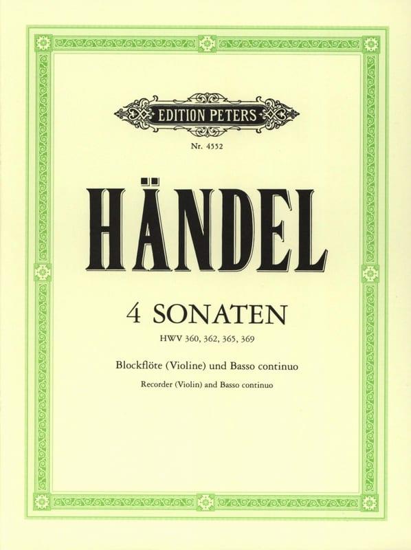 HAENDEL - 4 Sonaten - Blockflöte Violine u. Bc - Partition - di-arezzo.co.uk
