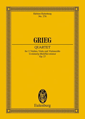 Edvard Grieg - Streich-Quartett G-Moll, Op. 27 - Partition - di-arezzo.it