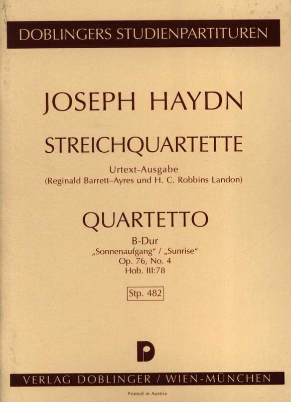 Streichquartett B-Dur op. 76 n° 4 Hob. 3 : 78- Partitur - laflutedepan.com