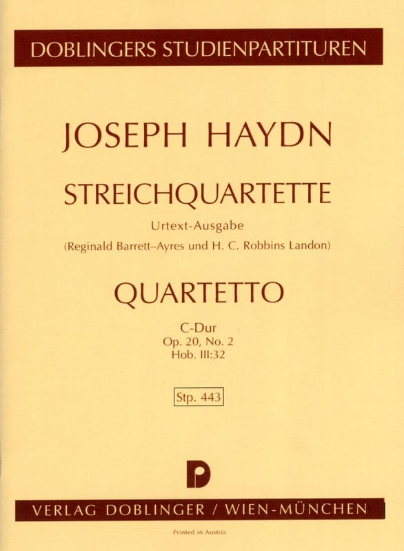 Streichquartett C-Dur op. 20 n° 2 Hob. 3 : 32 - Partitur - laflutedepan.com
