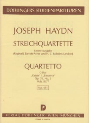 Streichquartett C-Dur op. 76 n° 3 Hob. 3 : 77 -Partitur - laflutedepan.com