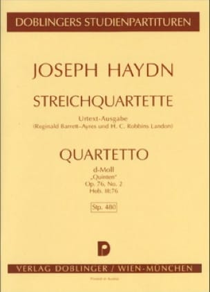 HAYDN - Streichquartett d-moll op. 76 n ° 2 Hob. 3: 76 - Partitur - Partition - di-arezzo.co.uk