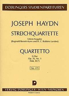 Streichquartett G-Dur Op. 76 n° 1 Hob. 3 : 75 - Partitur - laflutedepan.com