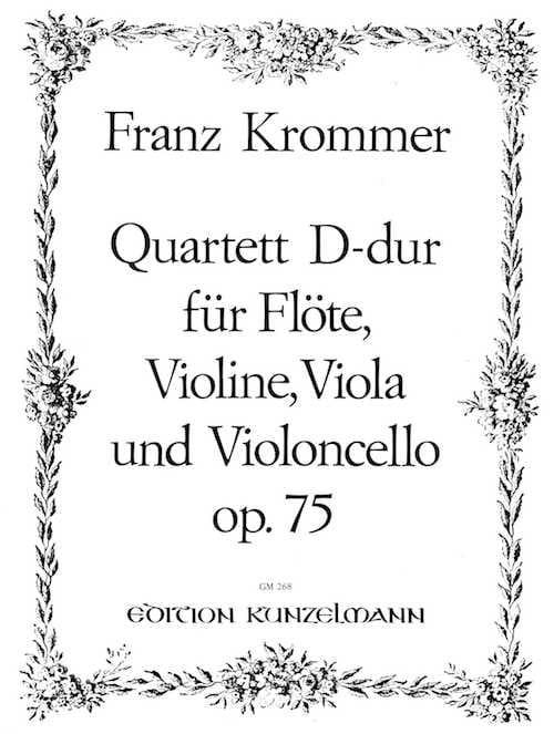 Franz Krommer - Quartett D-Dur op. 75 - Flute Violine Viola Violoncello - Stimmen - Partition - di-arezzo.com