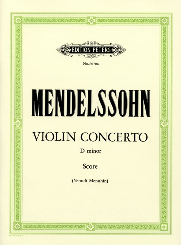 MENDELSSOHN - Violin Concerto D minor Menuhin -conductor - Partition - di-arezzo.co.uk