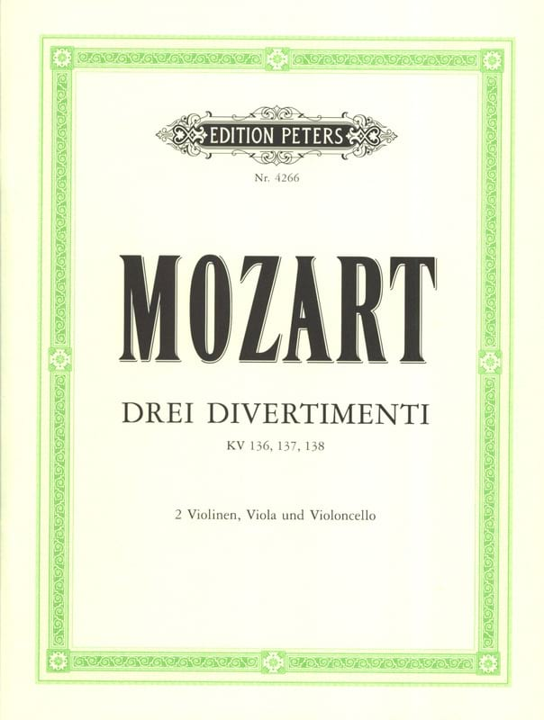 MOZART - 3 Divertimenti KV 136, 137, 138 - Stimmen - Partition - di-arezzo.co.uk