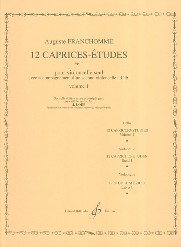 Auguste Franchomme - 12 Caprices-Etudes Opus 7 Volume 1 Studies 1 to 6 - Partition - di-arezzo.co.uk