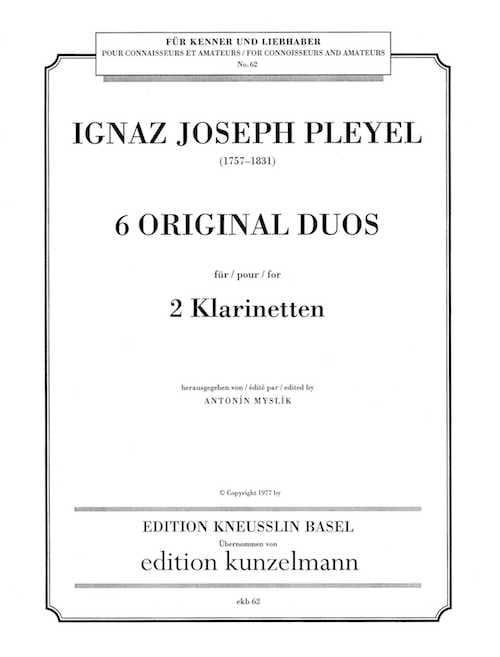 6 Original Duos - 2 Klarinetten - Ignaz Pleyel - laflutedepan.com