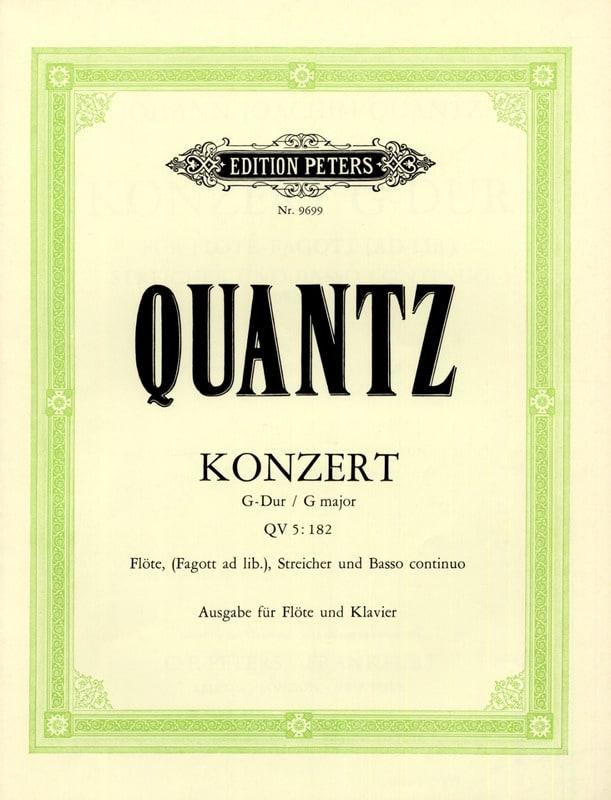 Johann Joachim Quantz - Konzert G-Dur QV 5: 182 - Flauta Klavier - Partition - di-arezzo.es