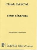 3 Légendes Claude Pascal Partition Clarinette - laflutedepan.com