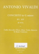 Concerto in G minor RV 105 (P. 403) – Treble Recorder Oboe Violin Bassoon Bc - laflutedepan.com