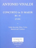Concerto in D major RV 95 P. 204 - Treble recorder oboe violin basson Bc laflutedepan.com