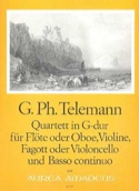 Quartett G-Dur- Flöte Violine Fagott BC TELEMANN laflutedepan.com