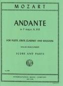 Andante F major KV 616 –Flute oboe clarinet bassoon - Score + parts - laflutedepan.com