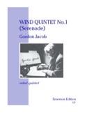 Wind quintet n° 1 Serenade -Parts Gordon Jacob laflutedepan.com