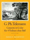 Concerto en Sol Majeur Für 4 Violinen Ohne Bass Twv40:201 laflutedepan