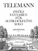 12 Fantasien - Altblockflöte solo TELEMANN Partition laflutedepan.com