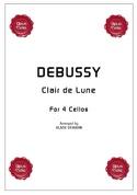 Clair de Lune for 4 cellos DEBUSSY Partition laflutedepan.com