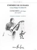 Concerto en ré majeur pour 4 guitares TELEMANN laflutedepan.com