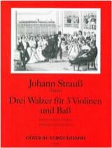 Johann (Père) Strauss - 3 Walzer für 3 Violinen und Bass - Partition - di-arezzo.fr