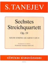 Streichquartett Nr. 6 op. 19 -Stimmen Serge Taneiev laflutedepan.com