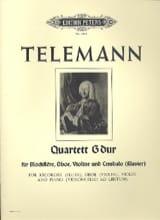 TELEMANN - Quartett G-Dur - Blockflöte Oboe Violine Cembalo - Partition - di-arezzo.fr