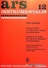 Carl Stamitz - Doppelkonzert B-Dur –Klarinette Fagott Klavier - Partition - di-arezzo.fr