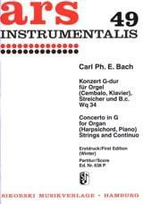 Carl Philipp Emanuel Bach - Konzert G-Dur Wq 34– Orgel Streicher Bc - Partition - di-arezzo.fr