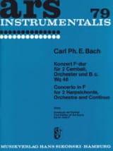 Carl Philipp Emanuel Bach - Konzert F-Dur Wq 46 – 2 Cembali Orchester Bc - Partition - di-arezzo.fr