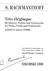 RACHMANINOV - Elegic Trio 1892- Klavier Violine Violoncello - Sheet Music - di-arezzo.co.uk