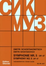 Symphonie N° 5 Op. 47 - Partitur CHOSTAKOVITCH Partition laflutedepan