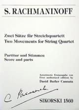 RACHMANINOV - Zwei Sätze für Streichquartett - Partition - di-arezzo.fr