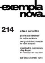 Alfred Schnittke - Gratulationsrondo / Madrigal in memoriam Oleg Kagan - Partition - di-arezzo.ch