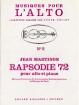 Rapsodie 72 Jean Martinon Partition Alto - laflutedepan.com