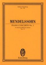 Klavier-Konzert Nr. 1 g-moll MENDELSSOHN Partition laflutedepan.com