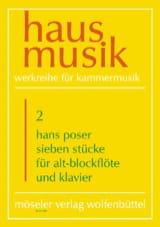 Sieben Stücke Hans Poser Partition Flûte à bec - laflutedepan.com