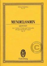 Quintette en Si B Majeur Op. 87 MENDELSSOHN Partition laflutedepan.com