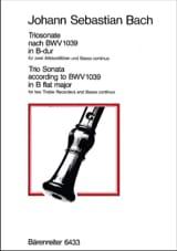 BACH - Triosonate B-Dur (nach BWV 1039) – 2 Altblockflöten Bc - Partition - di-arezzo.fr