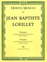 de Gant Jean Baptiste Loeillet - Sonaten - Heft 3 - Altblockflöte (o. Flöte, VIoline, Oboe) u. Bc - Partition - di-arezzo.fr