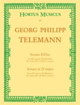 TELEMANN - Sonate D-Dur - Cello und Bc - Partition - di-arezzo.fr