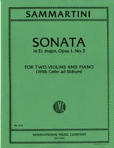 SAMMARTINI - Sonata E-flat major op. 1 n° 3 -2 violins piano - Partition - di-arezzo.fr